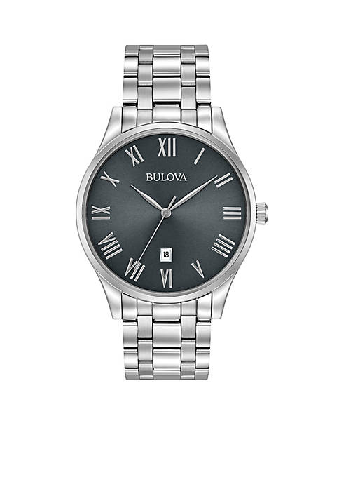 Bulova Mens Classic Watch with Gunmetal Dial