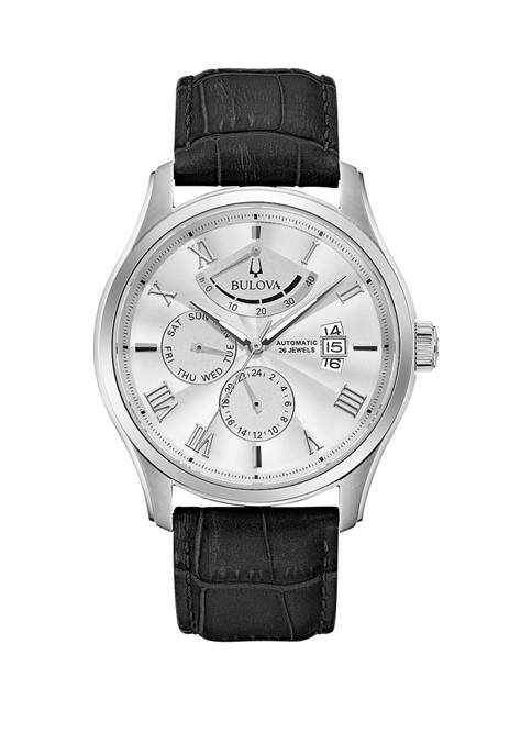 Bulova Mens Stainless Automatic Roman Numeral Leather Strap