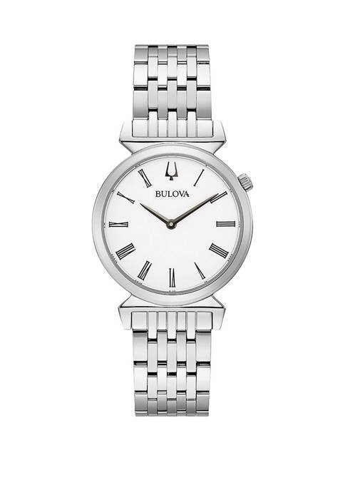 Bulova Womens Stainless Roman Numeral Dial Bracelet Watch