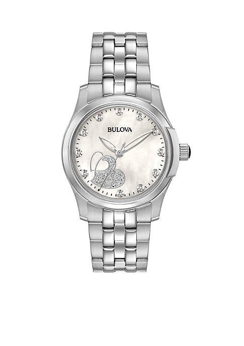 Bulova Womens Diamond Silver-Tone Watch