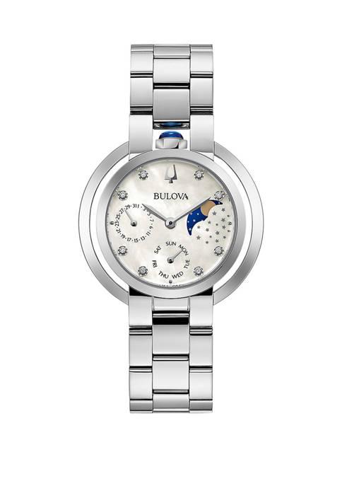Bulova Womens Diamond Accent Moon Phase Dial Bracelet
