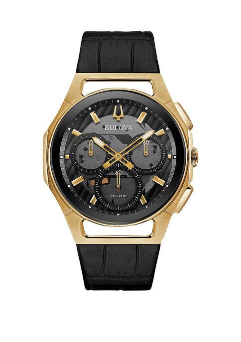 Bulova Mens Curved Gold Tone Chronograph Leather Strap