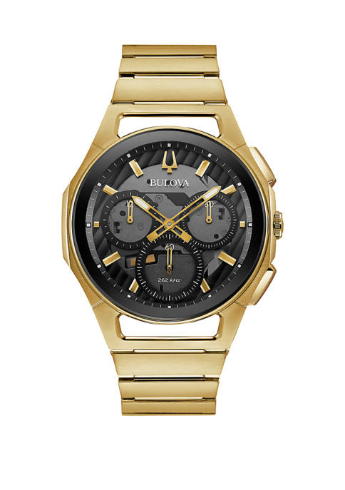 Bulova Mens Curved Gold Tone Chronograph Dial Bracelet