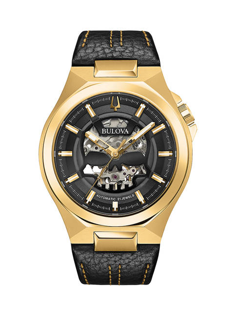 Bulova Mens Gold Tone Automatic Leather Contrasting Stitch