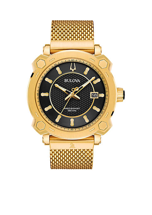 Bulova Mens Precisionist GRAMMY Gold-Tone Stainless Steel Mesh