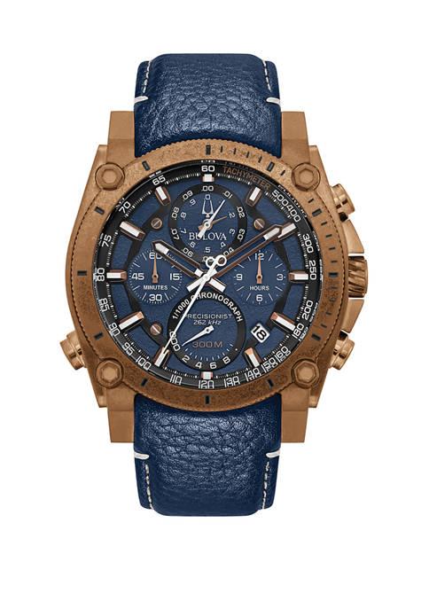 Bulova Mens Precisionist Bronze Chronograph Leather Strap Watch