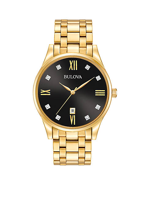 Bulova Mens Gold-Tone Diamond Dial Watch