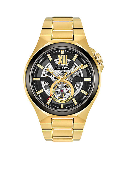 Mens Gold-Tone Automatic Watch