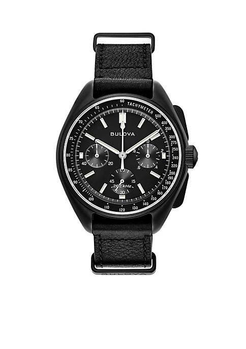 Bulova Mens Lunar Pilot Chronograph Black Leather Strap