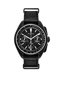 Men's Lunar Pilot Chronograph Black Leather Strap Watch