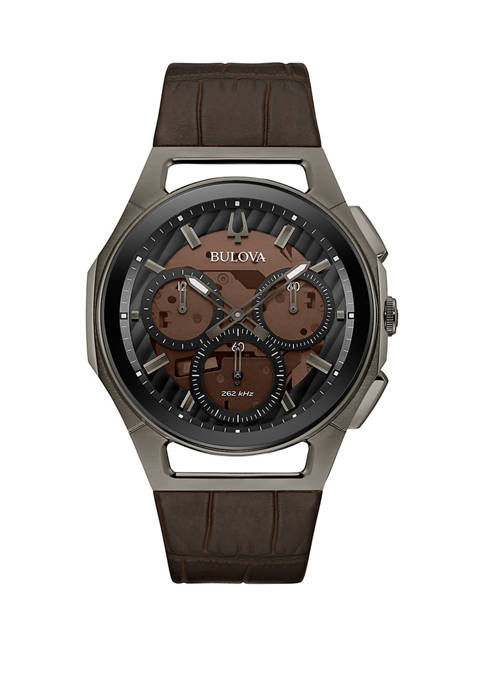 Bulova Mens Curved Stainless Leather Strap Watch