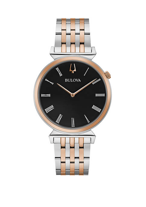 Bulova Mens Two Tone Stainless Roman Numeral Dial