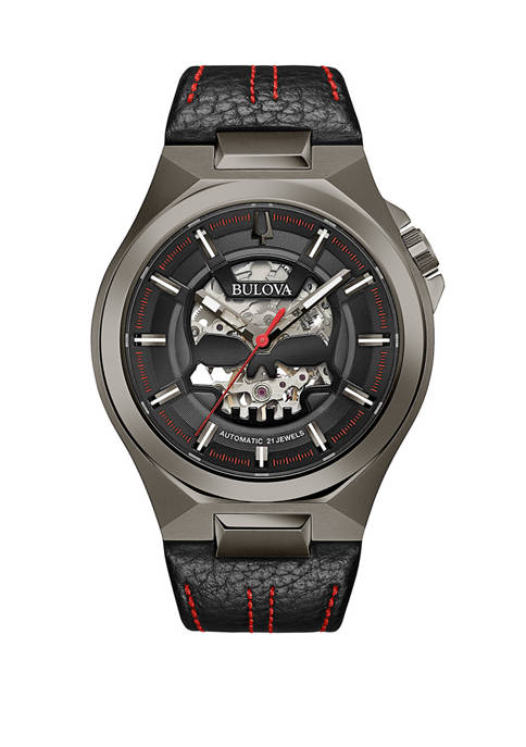 Bulova Mens Automatic Stainless Leather Strap Watch