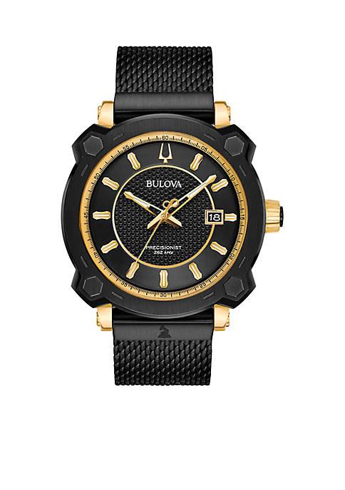 Mens Precisionist GRAMMY Black Stainless Steel Mesh Bracelet Watch