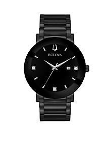 Men's Black IP Bracelet with Black Diamond Dial Watch
