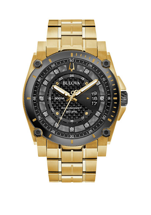 Bulova Mens Precisionist Gold Tone Diamond Accent Bracelet