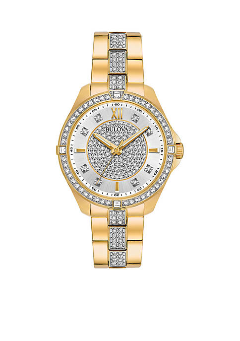 Bulova Womens Gold-Tone Crystal Watch