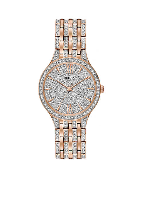 Bulova Womens Rose-Gold Slim Pave Watch