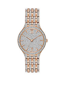 Women's Rose-Gold Slim Pave Watch