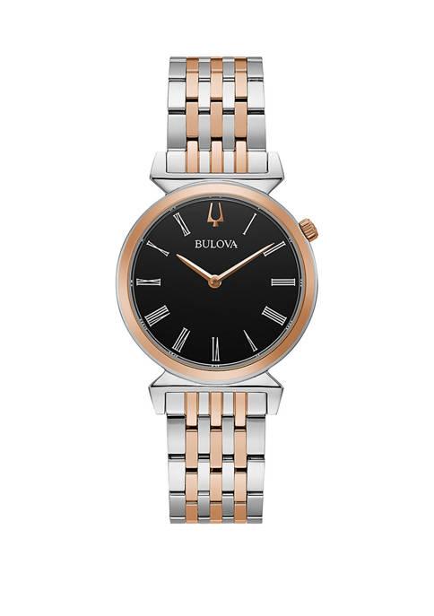 Bulova Womens Two Tone Stainless Dial Bracelet Watch