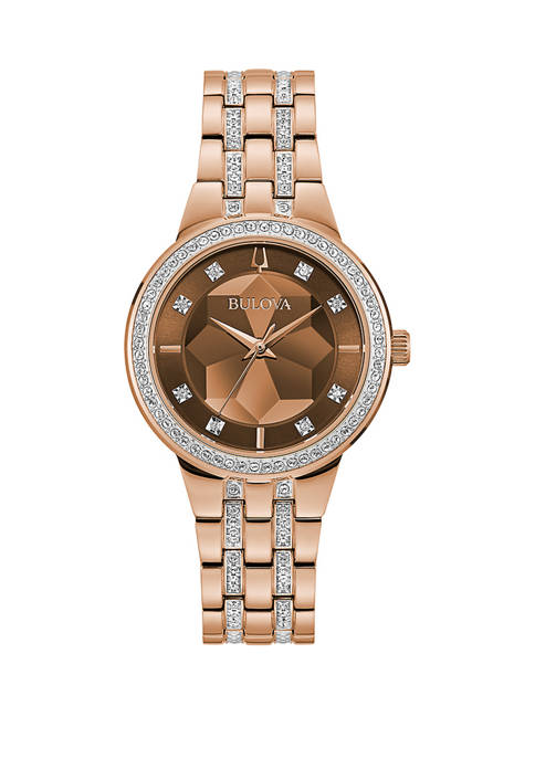 Bulova Womens Rose Tone Crystal Accent Faceted Dial