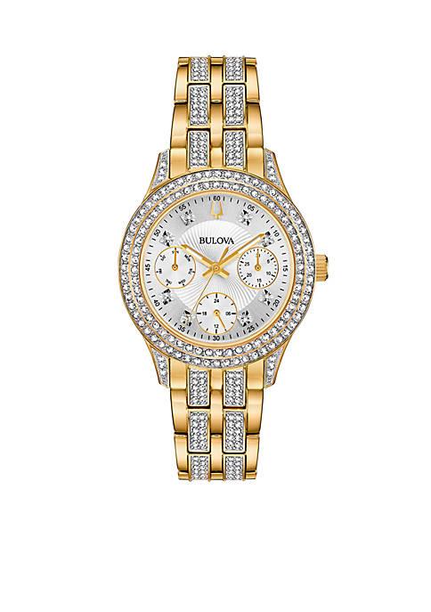 Bulova Womens Gold-Tone Swarovski Crystal Watch