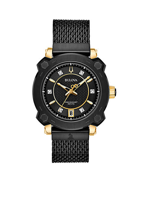 Bulova Womens Precisionist GRAMMY Diamond-Accent Black Stainless