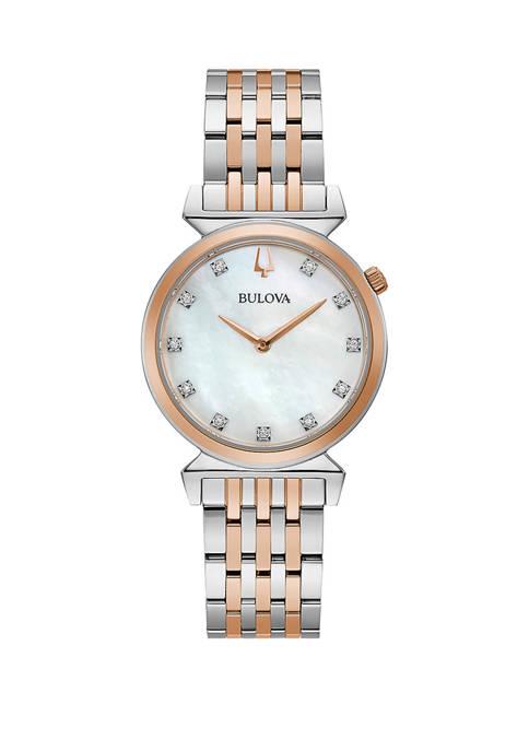 Bulova Womens Two Tone Diamond Accent Dial Bracelet