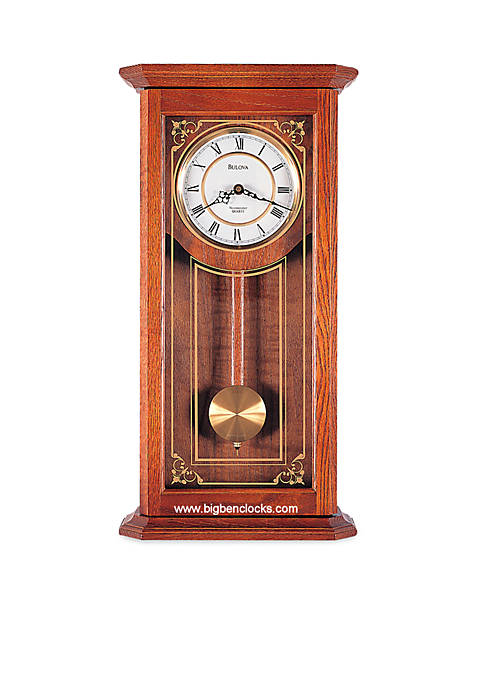 Bulova Cirrus Wall Chime Oak Clock