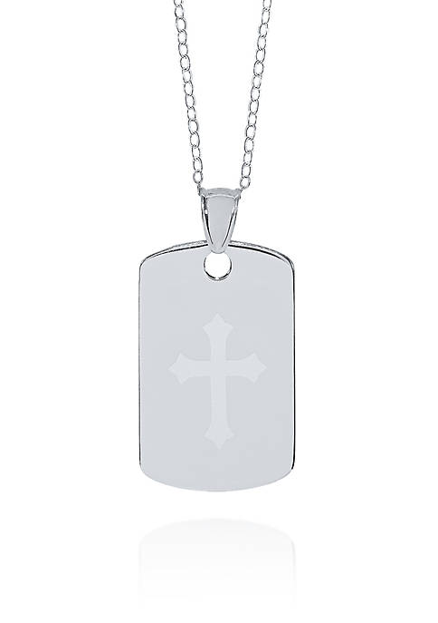 Belk & Co. Sterling Silver Cross Dog Tag