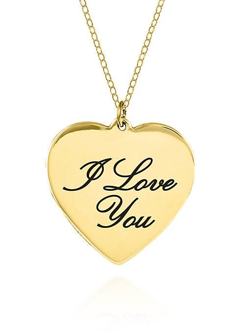 10k Yellow Gold I Love You Heart Pendant