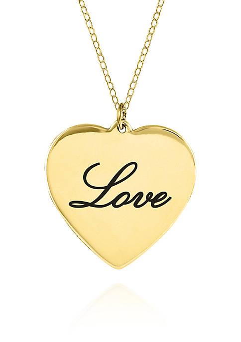14k Yellow Gold Love Heart Pendant