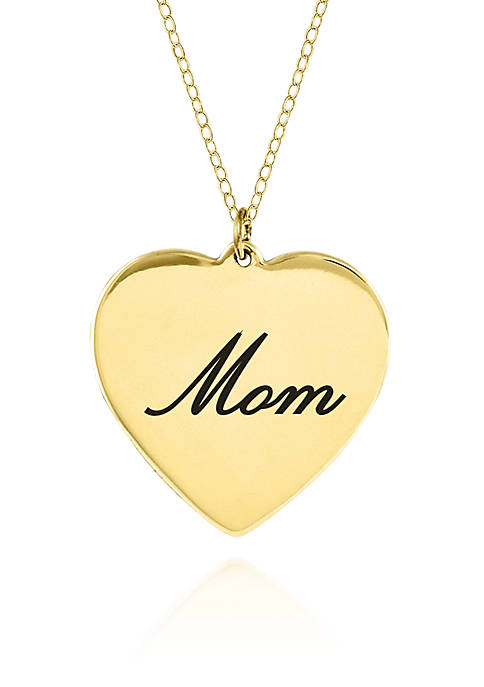 10k Yellow Gold Mom Heart Pendant
