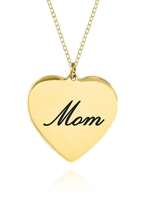 14k Yellow Gold Mom Heart Pendant