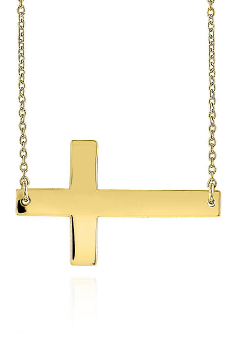 10k Yellow Gold Sideways Cross Necklace