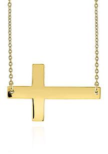 10k Yellow Gold Sideways Cross Necklace