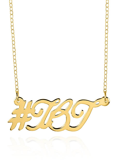 14k Yellow Gold Hashtag TBT Necklace