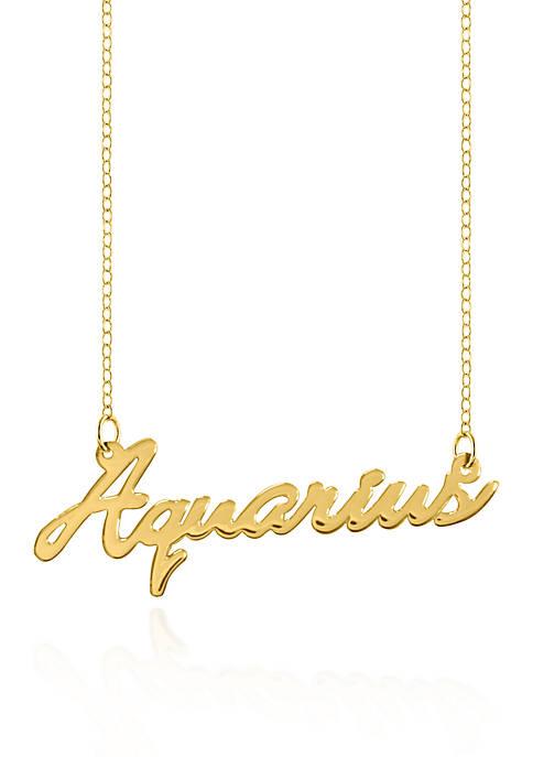 10k Yellow Gold Aquarius Necklace