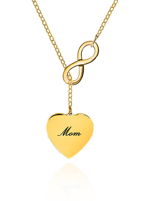 14k Yellow Gold Mom Infinity Heart Necklace