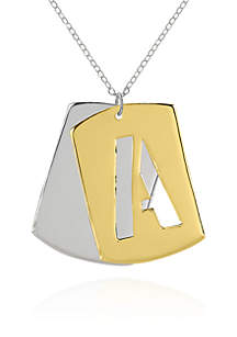 14k Yellow Gold Initial A Dog Tag Pendant