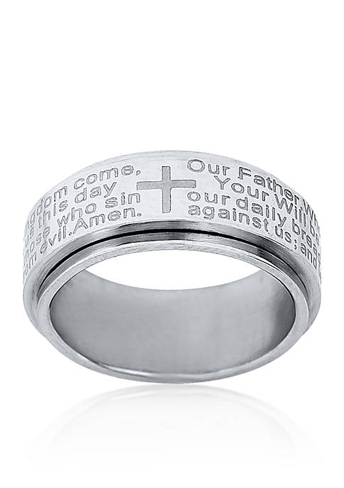 Belk & Co. Mens Stainless Steel Lords Prayer