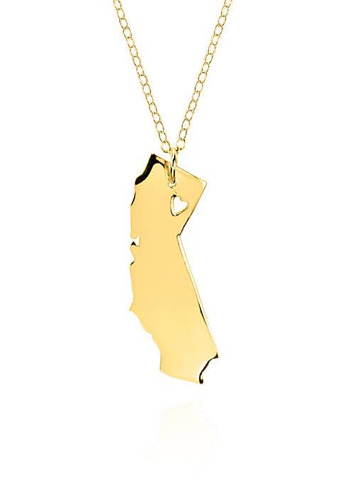 10k Yellow Gold California State Pendant