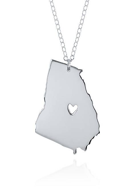 Sterling Silver Georgia State Pendant