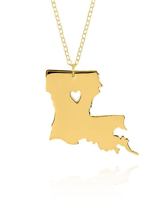 14k Yellow Gold Louisiana State Pendant