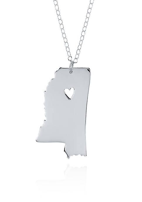 Sterling Silver Mississippi State Pendant