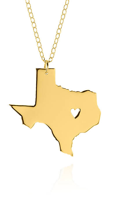 14k Yellow Gold Texas State Pendant