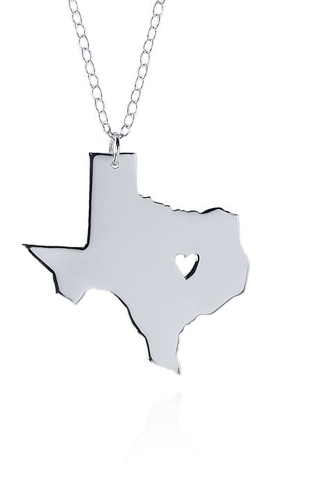 Sterling Silver Texas State Pendant