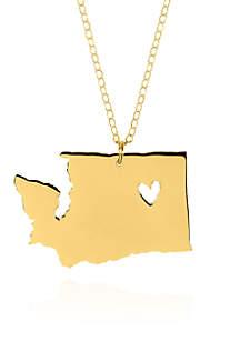 14k Yellow Gold Washington State Pendant