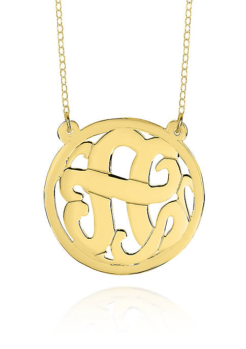 14k Yellow Gold A Monogram Necklace