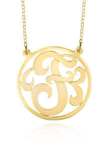 14k Yellow Gold F Monogram Necklace